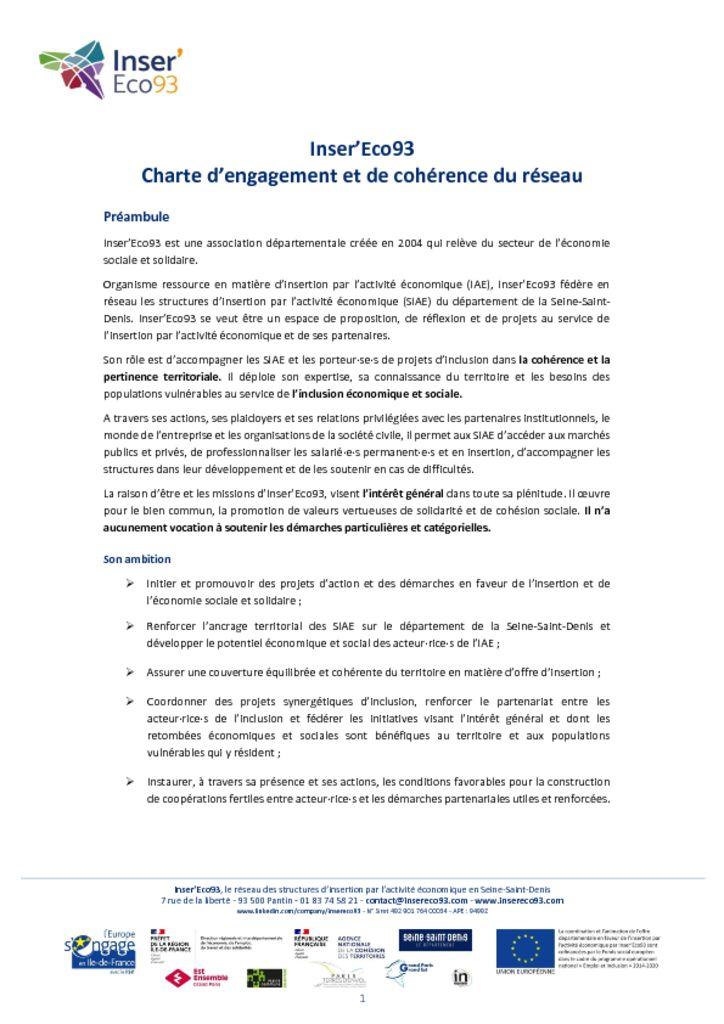 Charte d'engagement et de cohérence du réseau Inser'Eco93