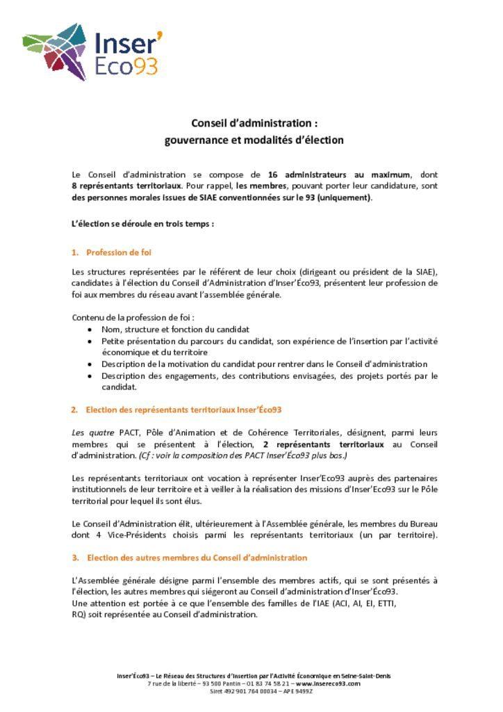 Conseil d'administration Inser'Eco93 - gouvernance et modalités d'élection