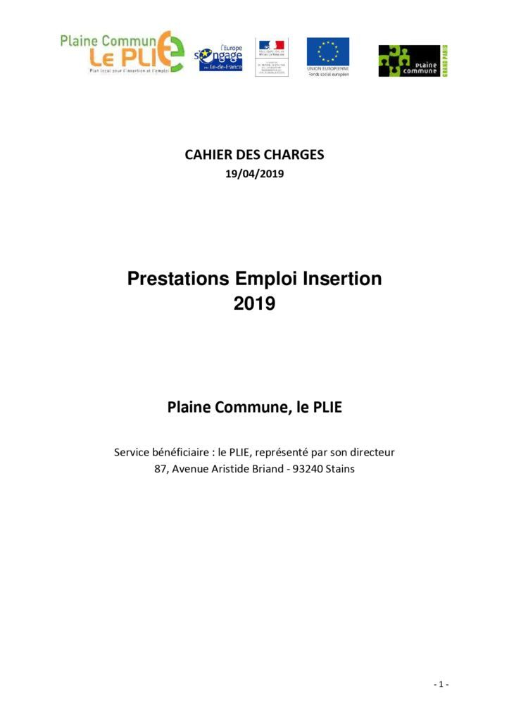 thumbnail of Cahier des charges Prestations Emploi Insertion 2019