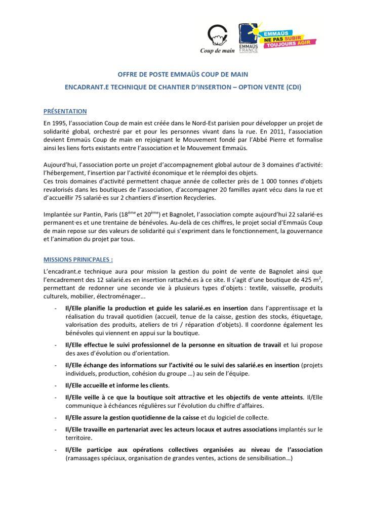 Offre d'emploi - Encadrant technique Vente - Emmaüs Coup de main