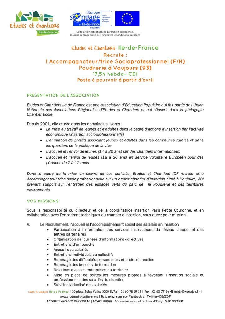 Offre emploi ASP temps partiel poudrerie 2019 ppc externe