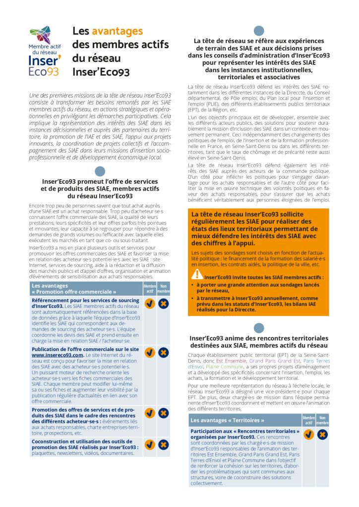 Les avantages des membres actifs d'Inser'Eco93