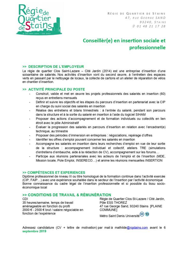 Conseillèr E En Insertion Sociale Et Professionnelle Inser