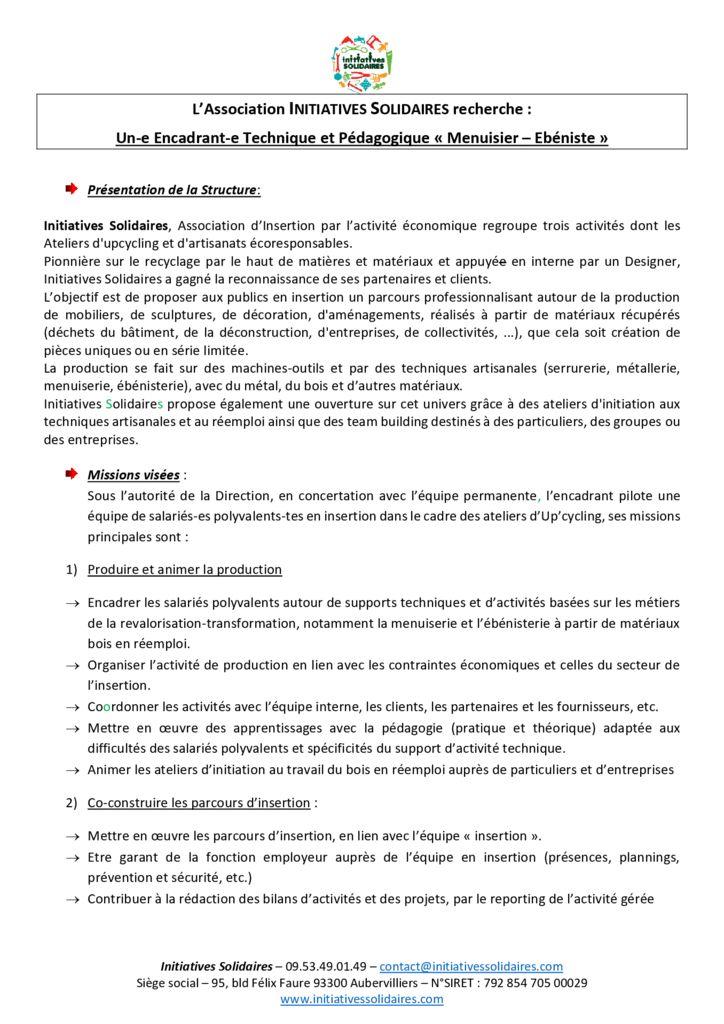FP 2019 Encadrant technique Bois