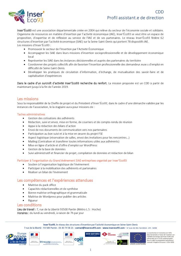 • Inser'Éco93 - CDD - profil assitante de direction