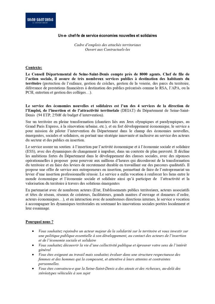 Annonce chef-fe de service économies nouvelles et solidaires Département de Seine Saint Denis