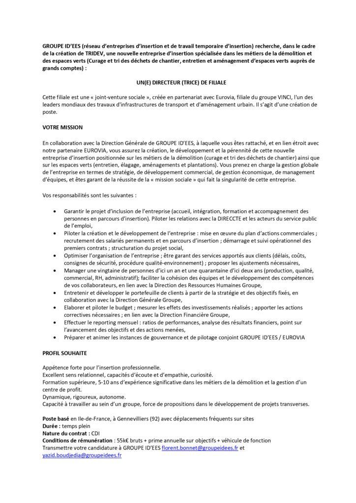 Offre Directeur de Filiale JVS EUROVIA - TRIDEV