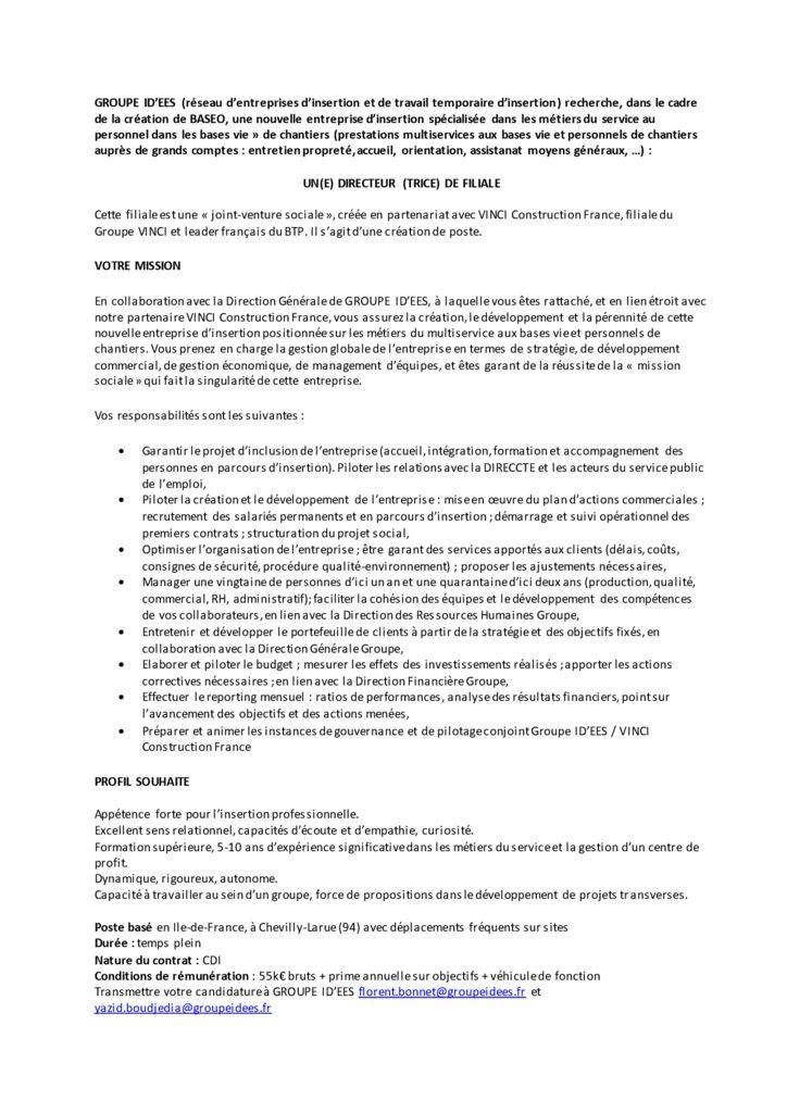 Offre Directeur de Filiale JVS VCF - BASEO