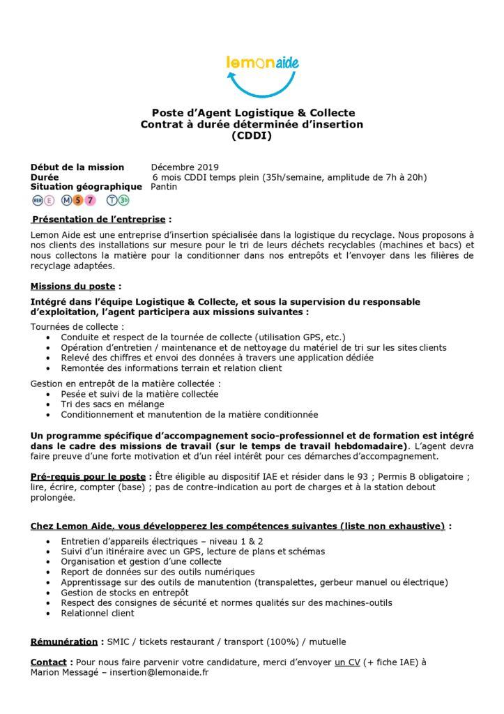 Offre_Agent logistique_Lemon Aide_Décembre_2019