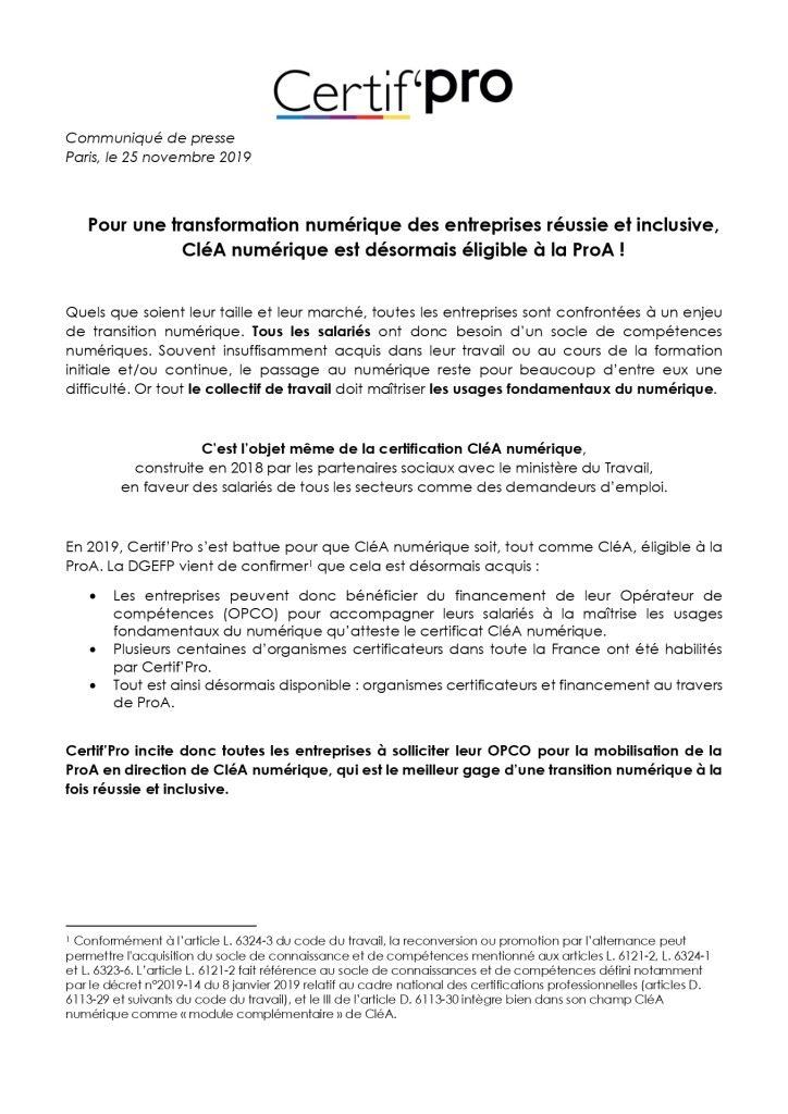 thumbnail of 20191125-Communiqué-de-Presse-CléA-numérique-éligible-à-ProA