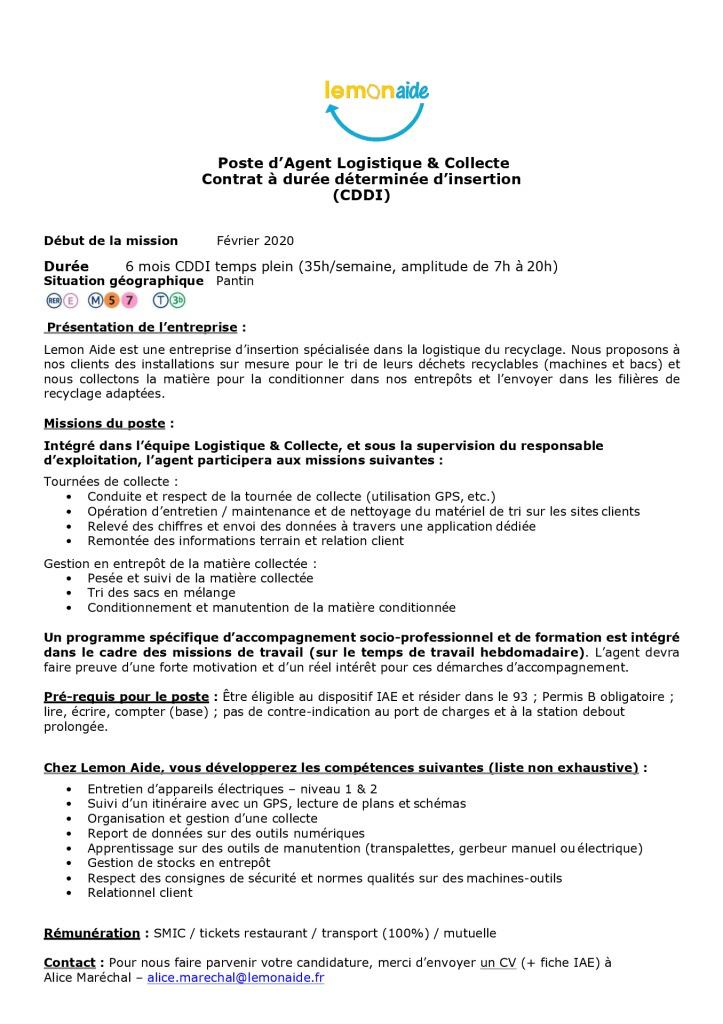 Offre_Agent logistique_Lemon Aide - 2020