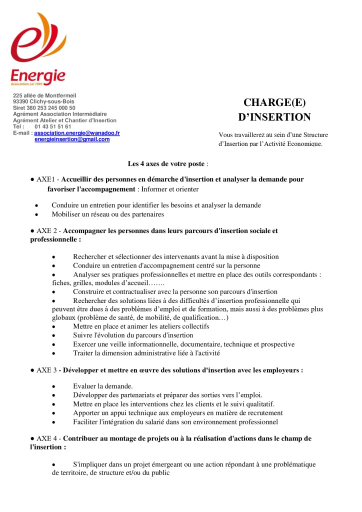 ENERGIE CHARGEE D'INSERTION 122020