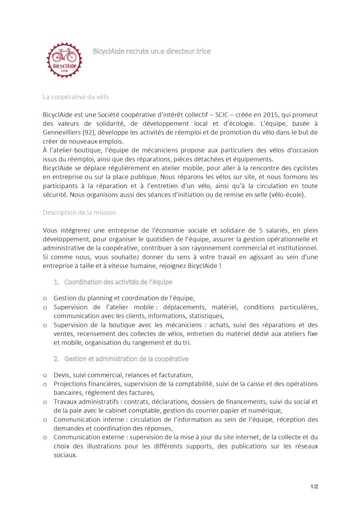Directeur.trice - BicyclAide - février 2020
