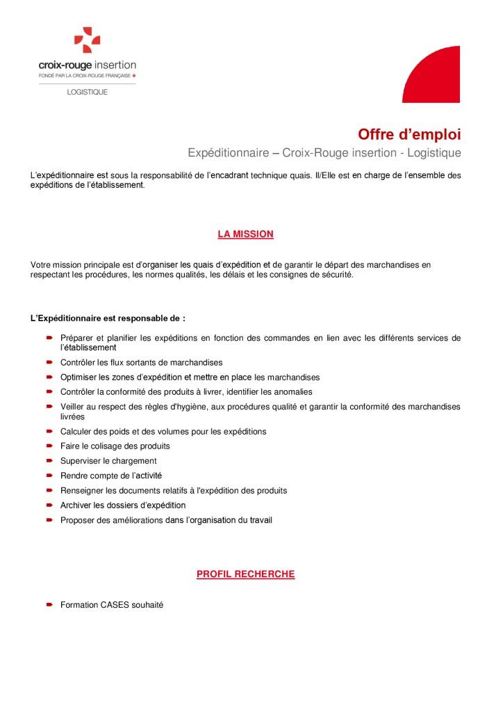 Logistique - Offre emploi Expéditionnaire 20012020