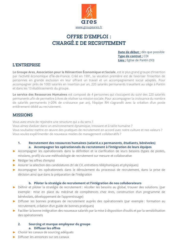 Annonce_Siège_Chargé de recrutement_CDI
