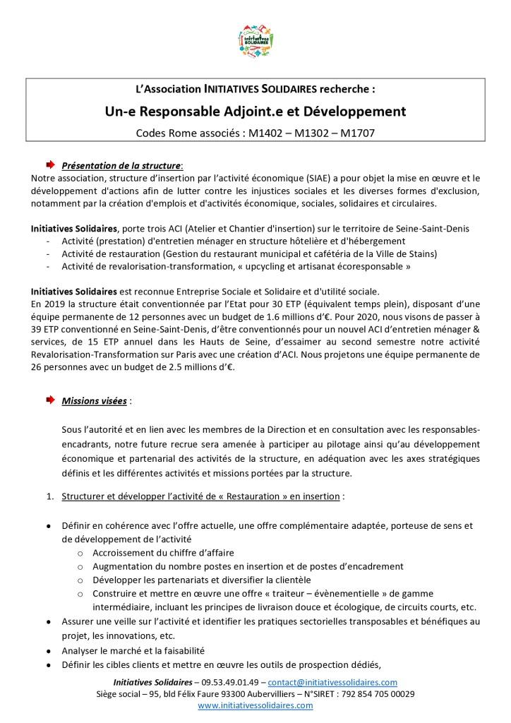 FDP Responsable Adjoint Développement