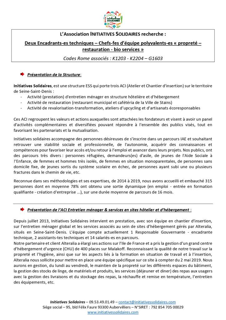 _FP 2020 Encadrant technique Chef d'équipe Propreté et bio services