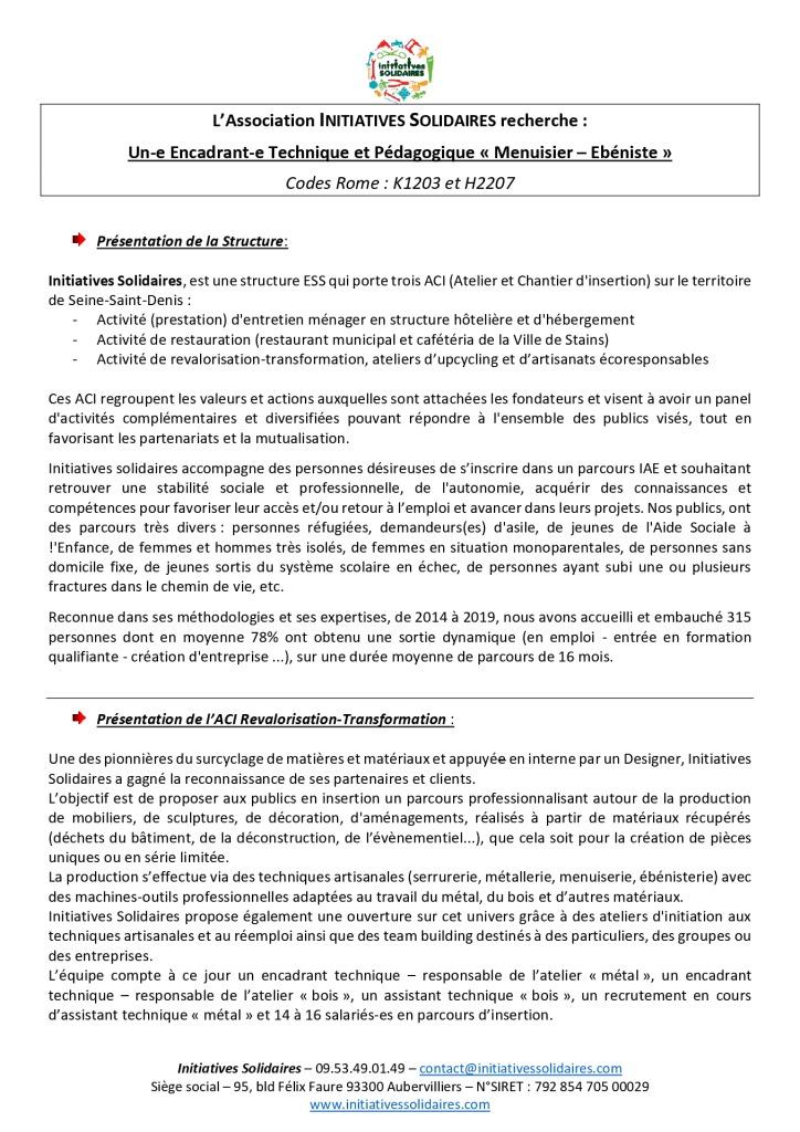 FP 2020 Encadrant technique Menuisier Ebeniste