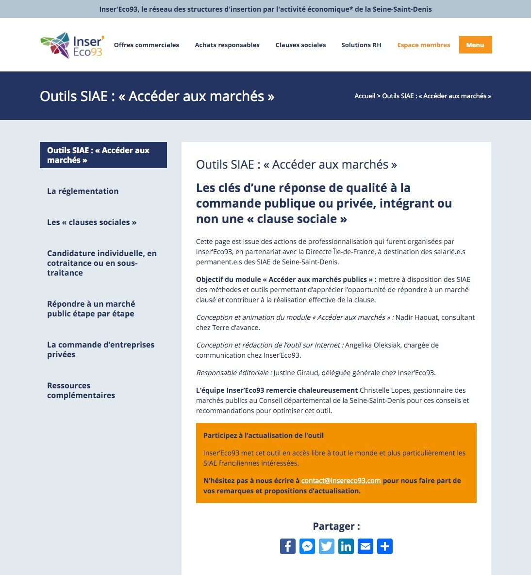 Inser'Eco93 publie son premier outil pratique destiné aux SIAE «Les clés d'une réponse de qualité à la commande publique ou privée, intégrant ou non une clause sociale»