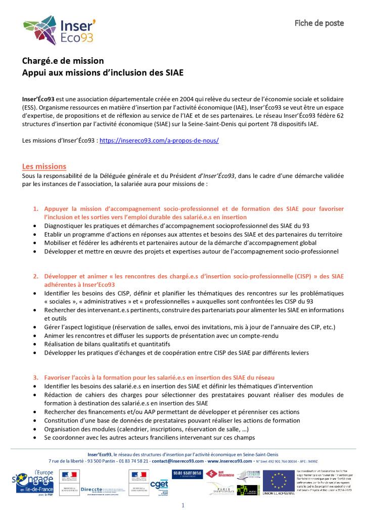 thumbnail of Inser'Éco93 – Fiche de poste – Chargé.e de mission Appui aux missions d'inclusion des SIAE-