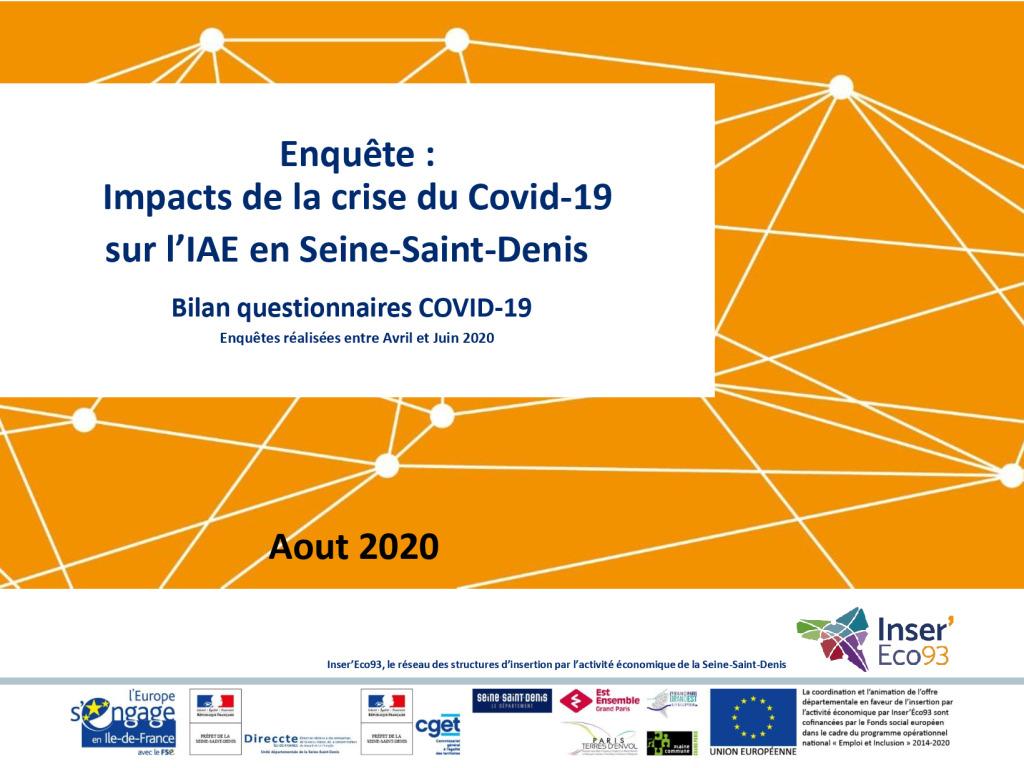 Bilan de l'enquête «Impacts de la crise du Covid-19 sur l'IAE en Seine-Saint-Denis»