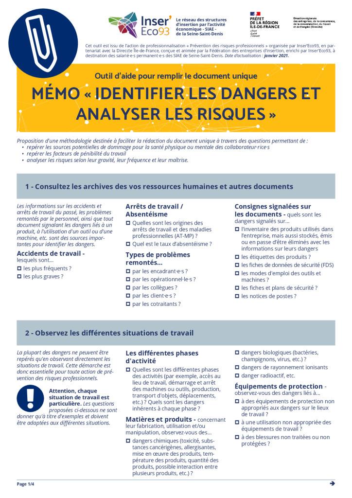 thumbnail of Memo Inser'Eco93 – Identifier les dangers et analyser les risques 20210202
