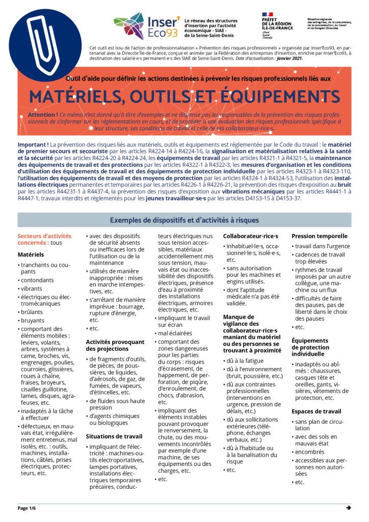 thumbnail of Memos Actions de prévention – Matériels, outils et équipements – 20210202