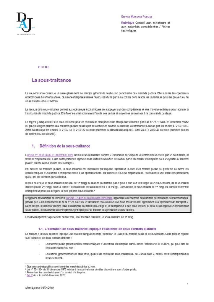 thumbnail of La sous-traitance – 201904 – DAJ