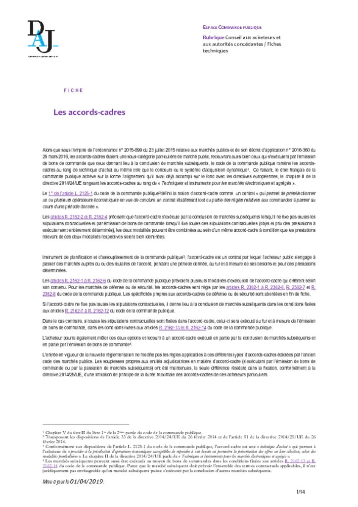 thumbnail of Les accords-cadres – 201904 – DAJ