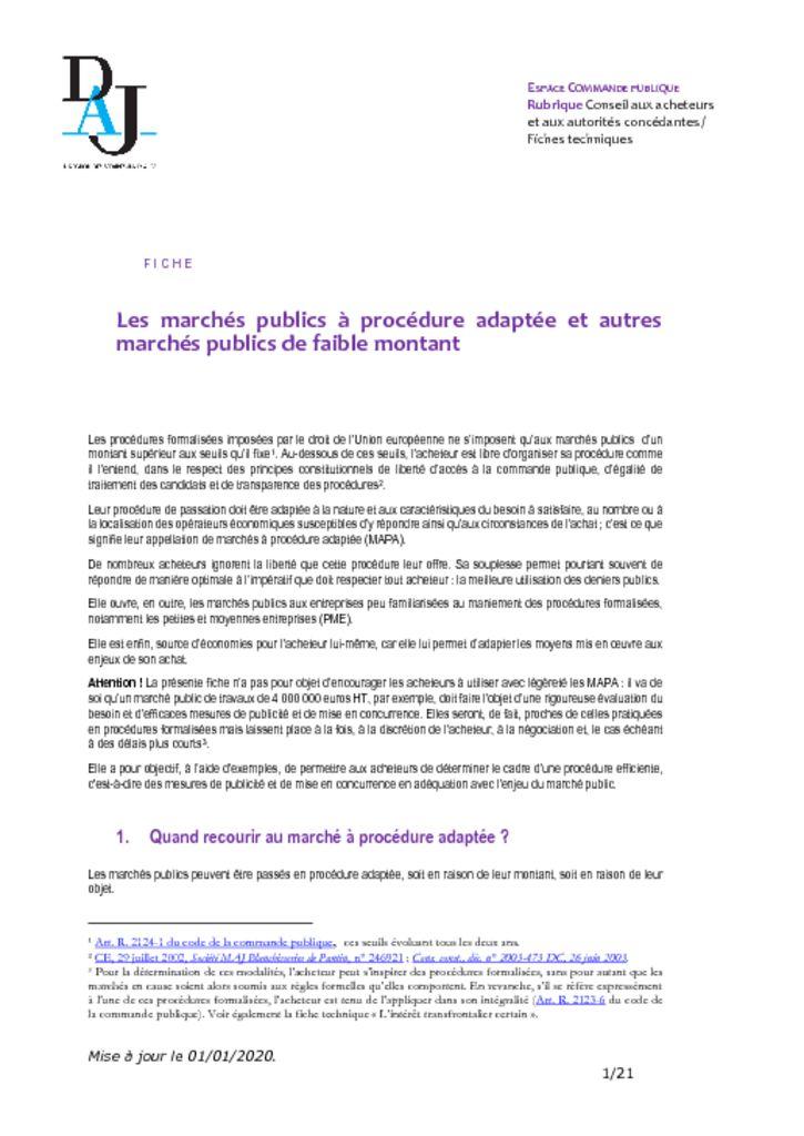 thumbnail of Les marchés publics à procédure adaptée et autres – 202001 – DAJ