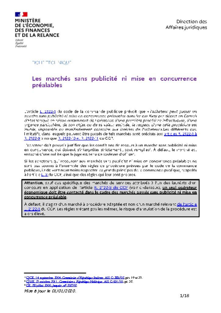 thumbnail of Les marchés sans publicité ni mise en concurrence – 202001 – DAJ