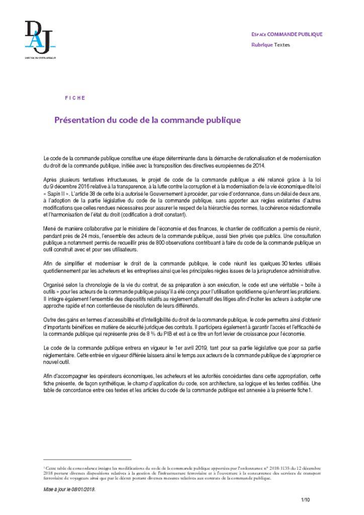 thumbnail of Présentation du code de la commande publique – 201901 – DAJ