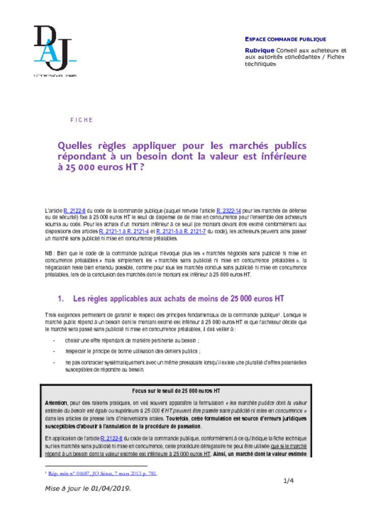 thumbnail of Quelles règles appliquer pour les marchés inférieurs à 25000€ – 201904 – DAJ