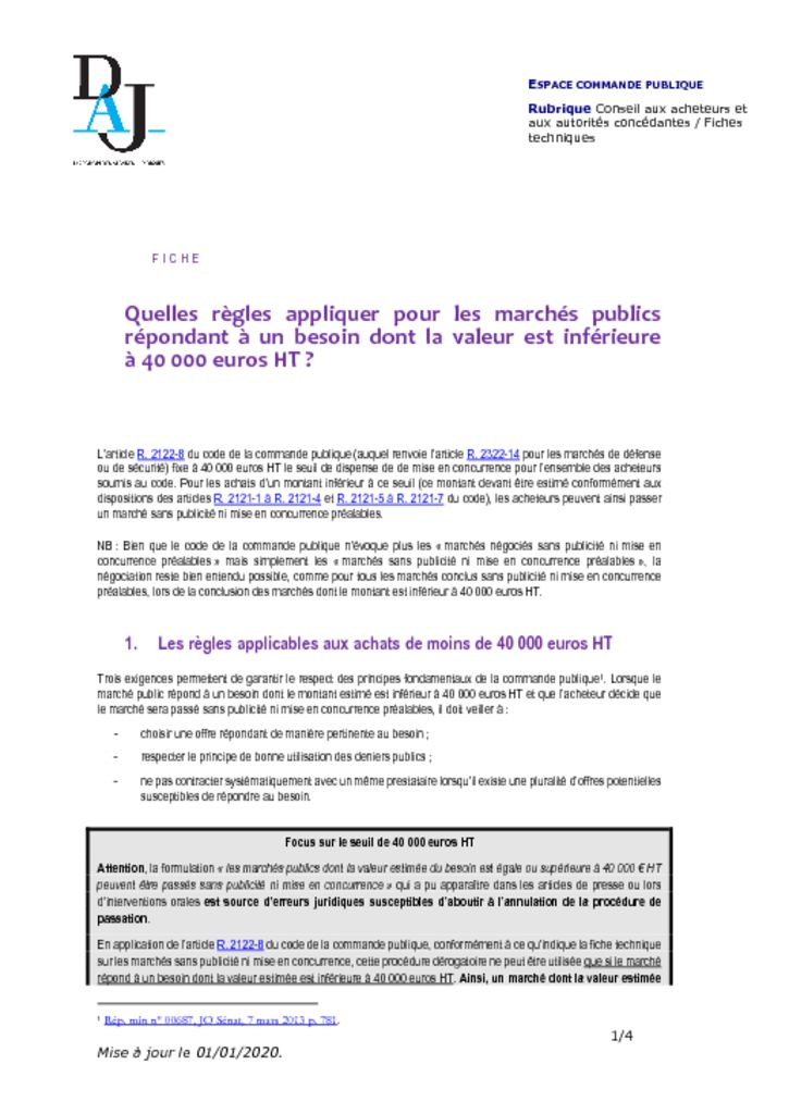 thumbnail of Quelles règles appliquer pour les marchés inférieurs à 40000€ – 202001 – DAJ